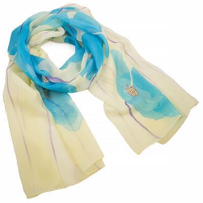 Šála vzdušná - žluto-modrá s květy