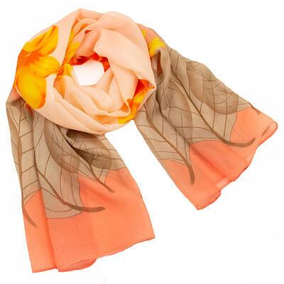Šála vzdušná - oranžovo-hnědá s květy