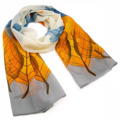 Šála vzdušná - šedo-oranžová s květy