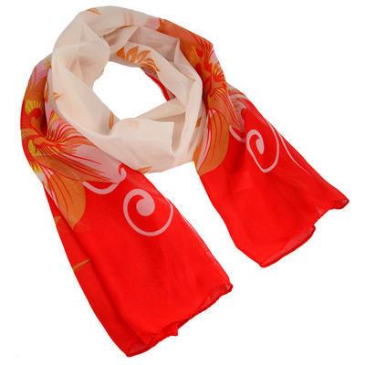 Šála vzdušná - červenobílá s květy - 1