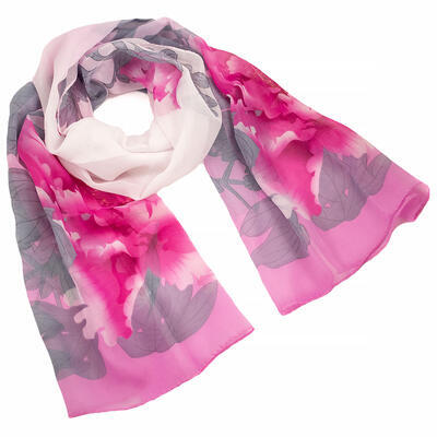 Šála vzdušná - růžovo-bílá s květy