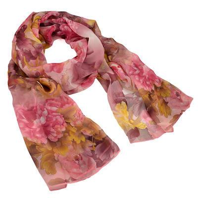 Šála vzdušná - růžová s květy - 1