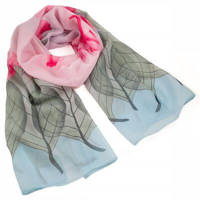 Šála vzdušná - modro-růžová s květy