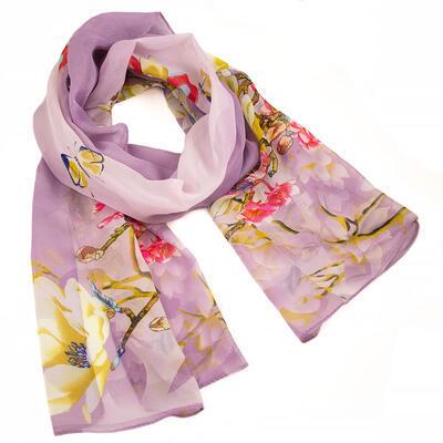 Šála vzdušná - fialová s květy