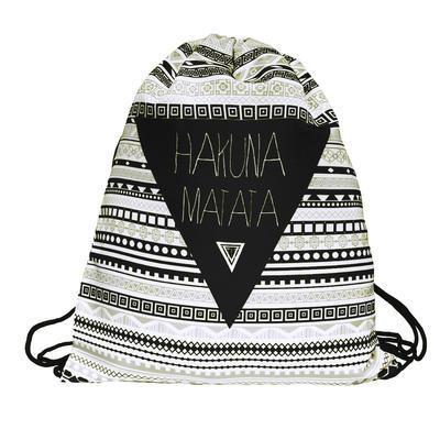 Látkový vak 239lv006-03 - černobílý Hakuna Matata