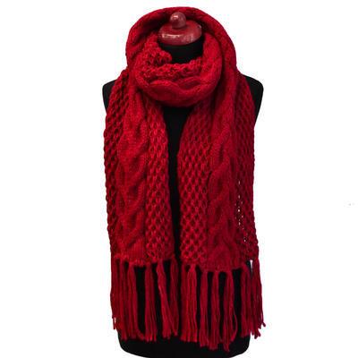 Maxi pletená šála - červená