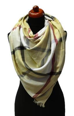 Velký šátek 69pl013-14 - béžová kostkovaná - 1