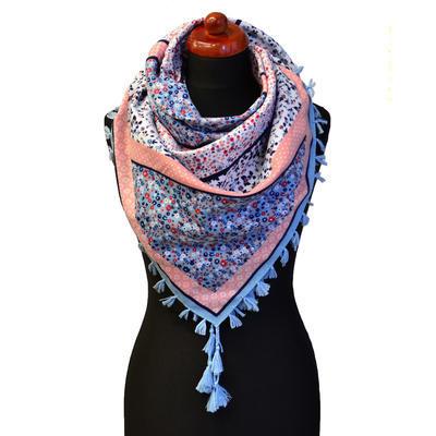 Maxi šátek - modrorůžový se vzorem - 1