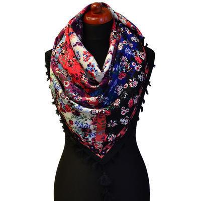 Maxi šátek - černočervený se vzorem - 1