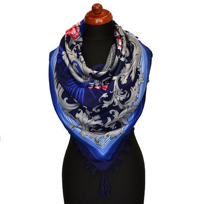 Maxi šátek - modrý se vzorem - 1