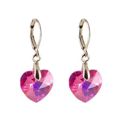 Náušnice Swarovski Elements Srdce 713akt6228-14-23ab - růžové