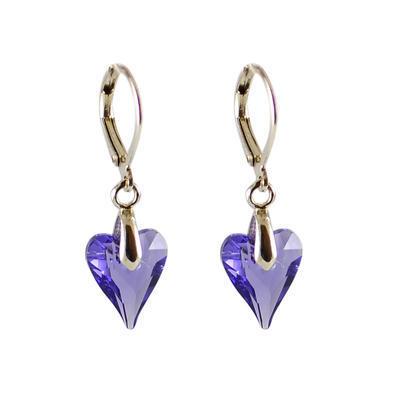 Náušnice Swarovski Elements Srdce 713akt6240-12-33 - fialové