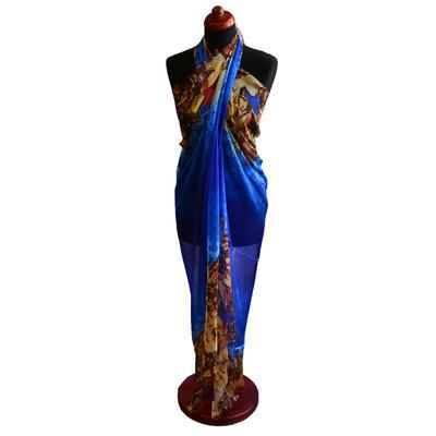 Pareo dámské Astarte par004-30 - modré s květinami