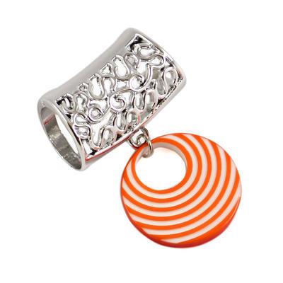 Přívěsek na šálu up100-11.01 - pruhovaný oranžový kroužek - 1