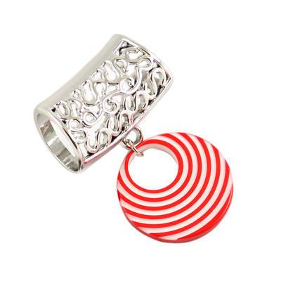 Přívěsek na šálu up100-20.01 - pruhovaný červený kroužek - 1