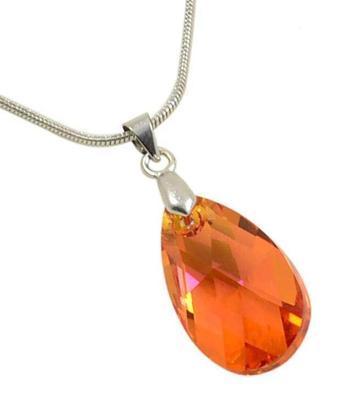 Přívěsek Swarovski Elements Pear 339akt6106-22-11 - oranžový
