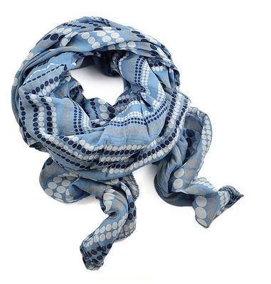 Šála bavlněná Carino 69ci003-31 - modrá puntíkovaná - 1