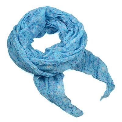 Šála bavlněná Classic 69cl004-31.01 - jasně modrá s drobnými  kytičkami - 1