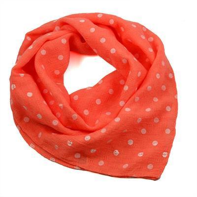 Šátek bavlněný 63sk003b-11.01 - oranžový s bílými puntíky - 1