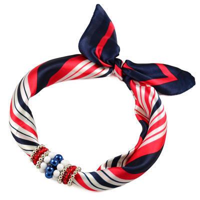 Jewelry scarf Stewardess - blue and red - 1
