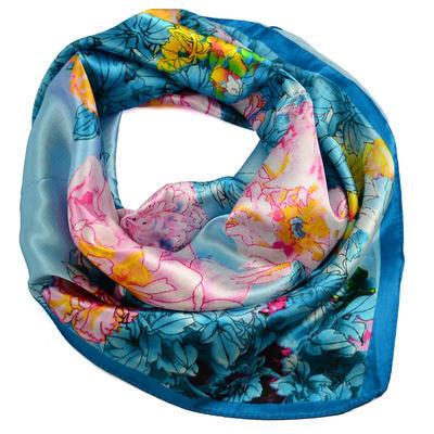 Šátek saténový 63sk004-32.23 - tyrkysový s akvarelovými květinami - 1