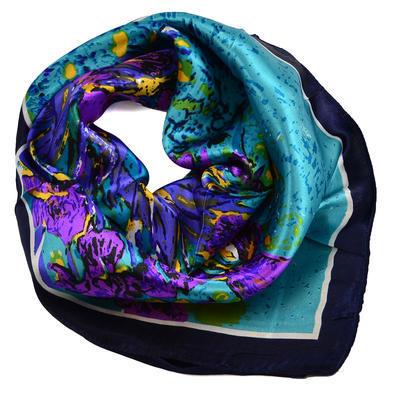 Šátek saténový 63sk004-32.33 - tyrkysový s fialovými květinami - 1