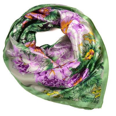 Šátek saténový 63sk004-51.23 - zelený s akvarelovými květinami - 1