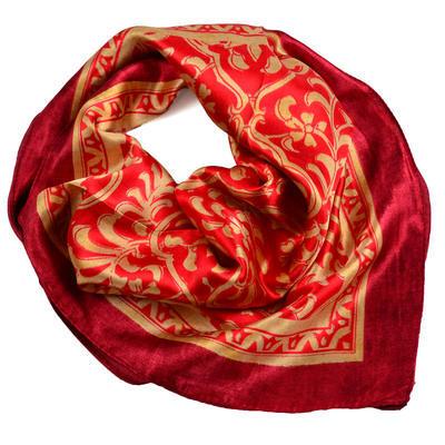 Šátek saténový 63sk009-20.13 - červený se zlatým vzorem - 1