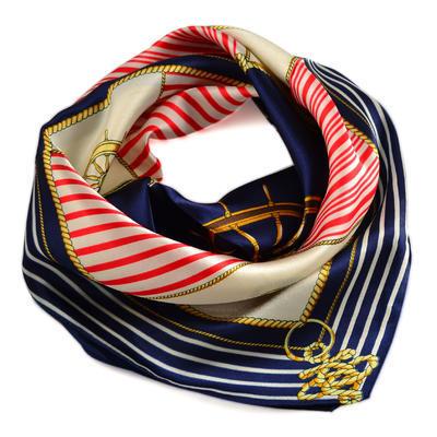 Šátek saténový - modrobílý námořnický - 1
