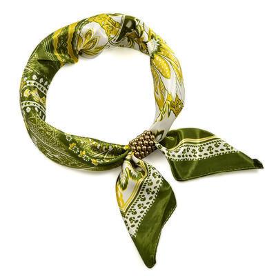 Šátek se sponkou Letuška Light 245lel010-50.01 - zelený paisley - 1