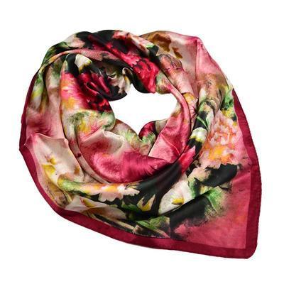 Šátek saténový 63sk004-22 - vínová s akvarelovými květy - 1