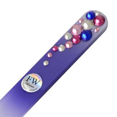 Skleněný pilník s kamínky Swarovski - fialový - 1