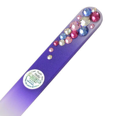 Glass nail file with Swarovski crystals - violet - 1