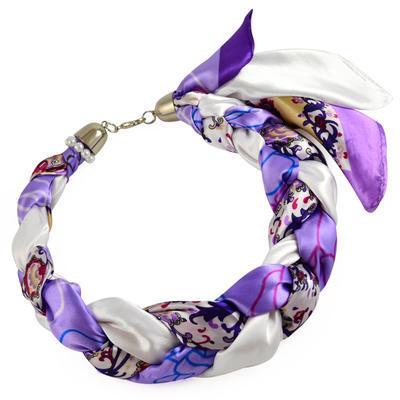 Šátek-náhrdelník Florina 299flo009-35.01 - fialovobílý - 1