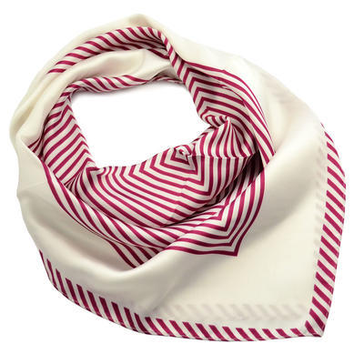 Šátek - bíločervený s pruhy - 1