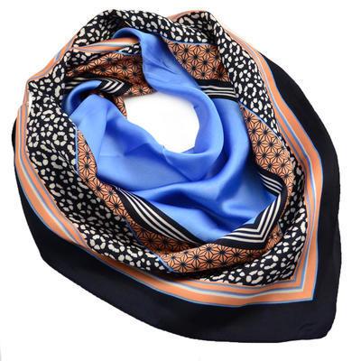 Šátek - modrokorálový s potiskem - 1