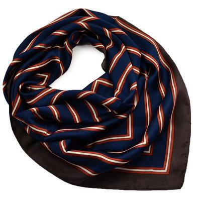 Šátek - modrohnědý s pruhy - 1