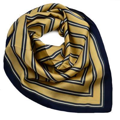Šátek - zlatomodrý s pruhy - 1
