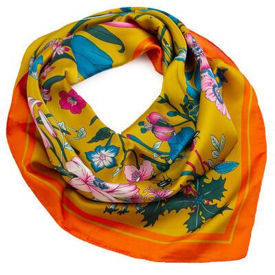 Šátek - žluto-oranžový s květy - 1