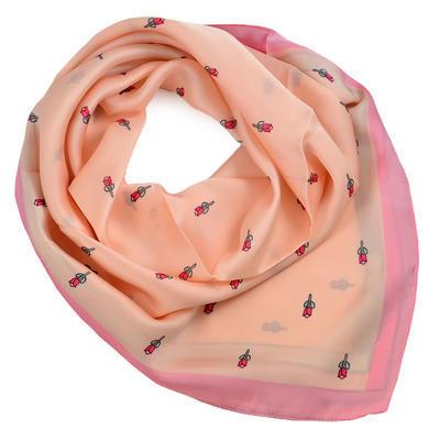 Šátek - růžový s kytičkami - 1