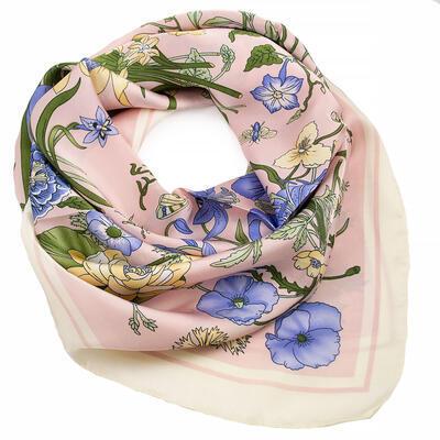 Šátek - růžovo-modrý s květy - 1