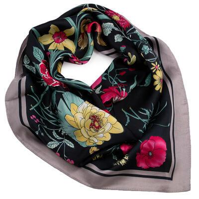 Šátek - tmavě modrý s květy - 1