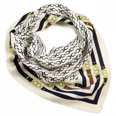Šátek - bílo-modrý s potiskem - 1