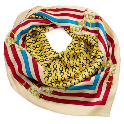 Šátek - žluto-béžový s potiskem - 1