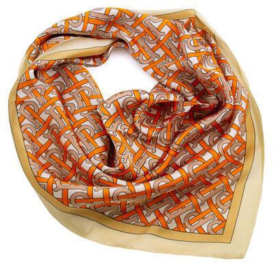Šátek - oranžový s potiskem - 1