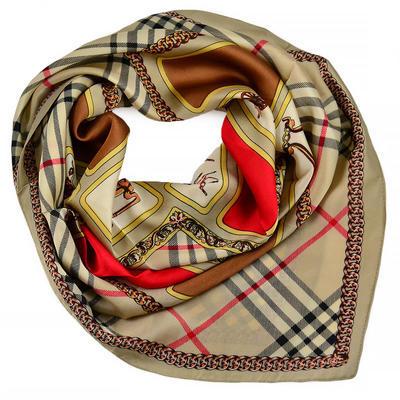 Šátek - hnědý s potiskem - 1