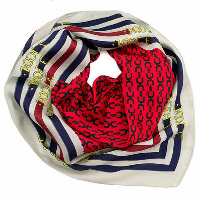 Šátek - červeno-bílý s potiskem - 1