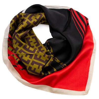 Šátek - červeno-černý s potiskem - 1