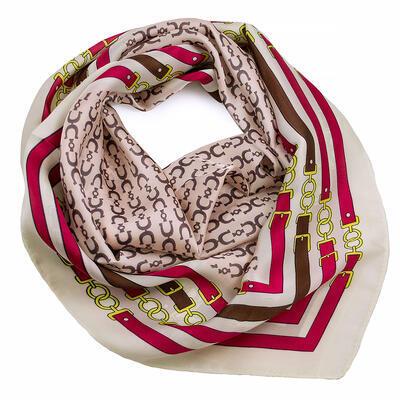 Šátek - růžovo-bílý s potiskem - 1