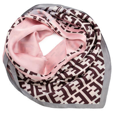 Šátek - růžovo-hnědý s potiskem - 1